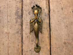 Large Mermaid Goddess Handle in Brass